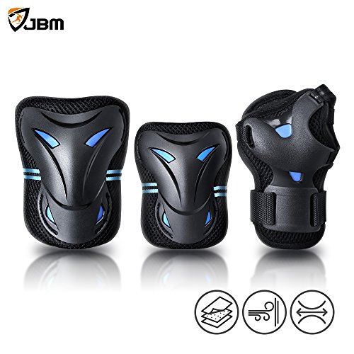 JBM Multi Sport Protective Gear Knee Pads and Elbow Pads with Wrist Guards for Cycling, Skateboa ...