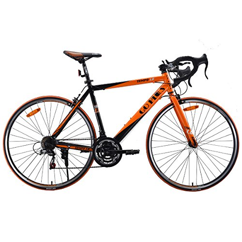 Goplus Commuter Bike Road Bike Quick Release Aluminum 700C Shimano 21 Speed (Orange)