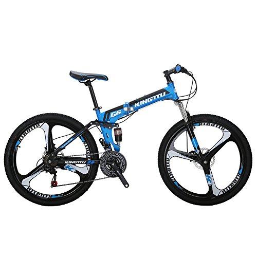 Kingttu G6 Mountain Bike 26 Inches 3 Spoke Wheels Dual Suspension Folding Bike 21 Speed MTB Bicy ...