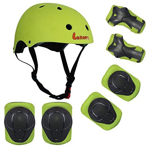 Lanova Kids Adjustable Sports Protective Gear Set Safety Pad Safeguard (Helmet Knee Elbow Wrist) ...