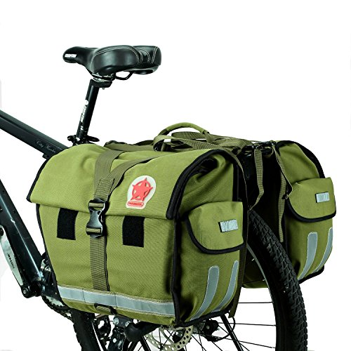 ArcEnCiel 45L Water-Resistant Bicycle Rear Seat Carrier Bag Double Pannier Bag Army Green – ...