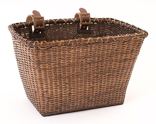 """Retrospec Bicycles Cane Woven Rectangular """"Toto"""" Basket with Authentic Leather Strap ..."""