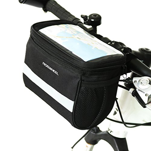 TraderPlus Bicycle Basket Handlebar Bag with Sliver Grey Reflective Stripe Outdoor Activity Cycl ...