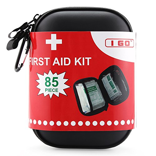 I Go Compact First Aid Kit – Hard Shell Case for Hiking, Camping, Travel, Car – 85 P ...