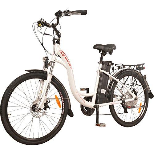 DJ City Bike 500W 48V 13Ah Step-Thru Electric Bicycle, 7-Speed, Samsung Lithium-Ion Battery, Pea ...
