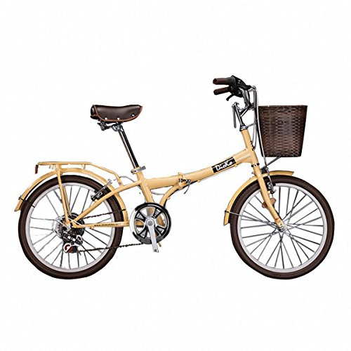 DIOKO 20 inches Cruiser Folding Bike with basket Pistache – Ivory