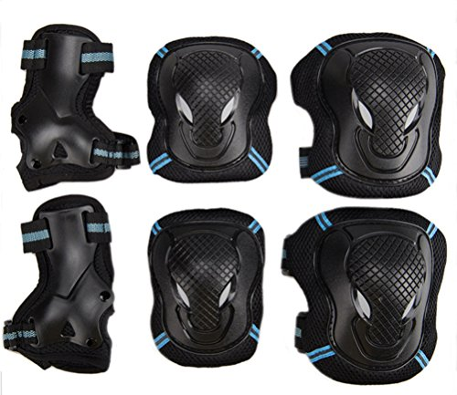 Kids Adult 6PCS Sports Protective Gear Set Adjustable Reflective Cycling Roller Skating Knee Elb ...