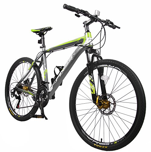 Merax Finiss 26″ Aluminum 21 Speed Mountain Bike with Disc Brakes(Fashion Gray&Green)