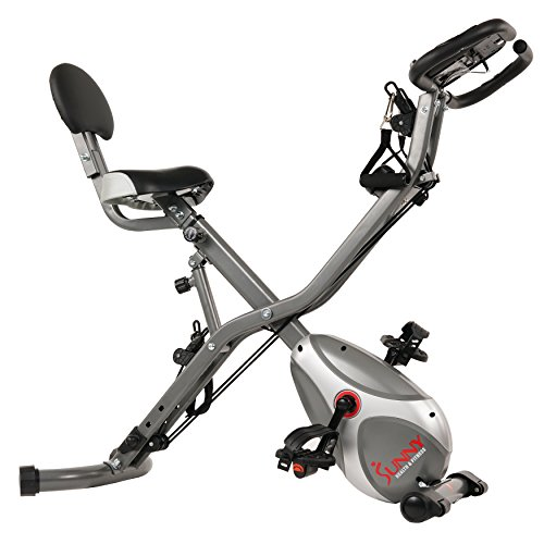 Sunny Health & Fitness Foldable Semi Recumbent Magnetic Upright Exercise Bike w/ Pulse Rate  ...