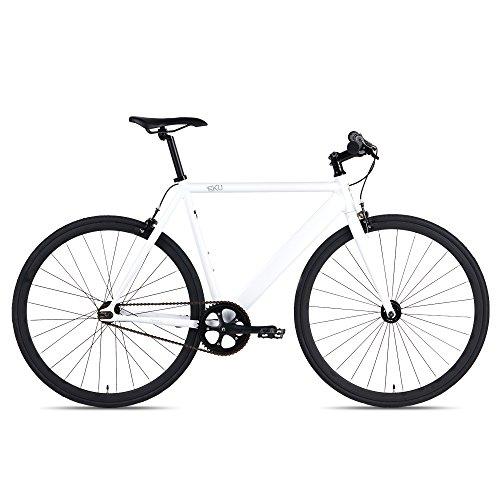 6KU Track Fixed Gear Bicycle, White/Black, 49cm