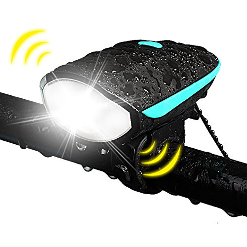 Bicycle Headlight With Super Loud Bike Horn 120 DB Bike Front Handlebar USB Rechargeable (Blue)