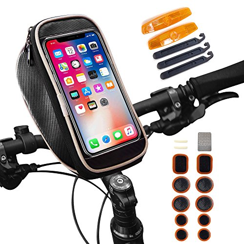 Waterproof Bike Bag, Smartphone Bicycle Bag, Bike Handlebar Bag, Road & Mountain Bike Pouch  ...