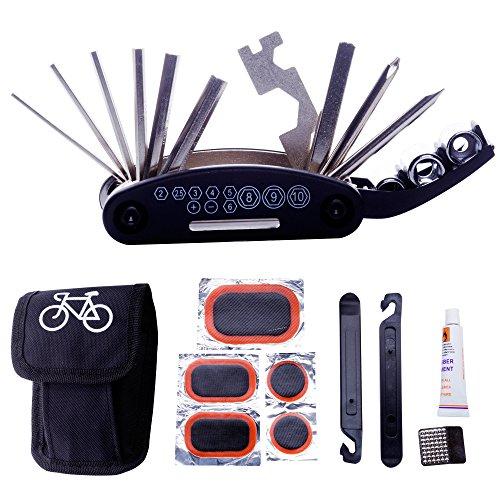 DAWAY A32 Bike Repair Tool Kits – 16 in 1 Multifunction Bicycle Mechanic Fix Tools Set Bag ...