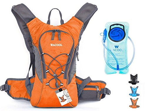 WACOOL 2L Waterproof Hydration Bladder Pack, Cycling Backpack, Lightweight Daypack (Orange and 2 ...