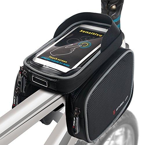 Bike Frame Bag Bicycle Top Tube Bag Cell Phone Bag Waterproof Sensitive Touch Screen (Black-Gray)