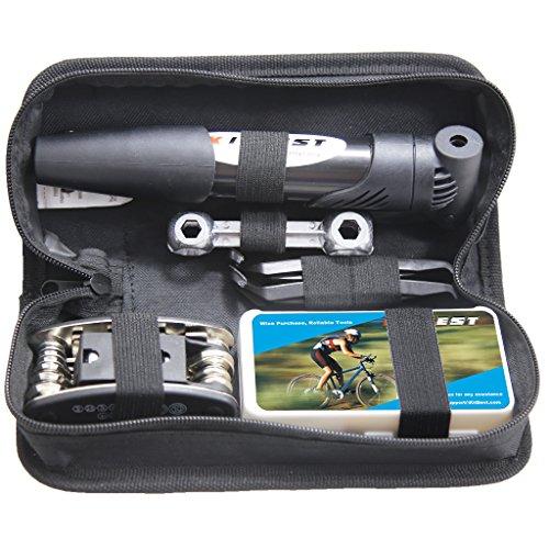 Mini Bike Pump & Tire Puncture Repair Kit & Multi-Function Bike Bicycle Cycling Mechanic ...
