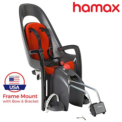 Hamax Caress Rear Child Bike Seat (Grey/Red, Frame Mount)