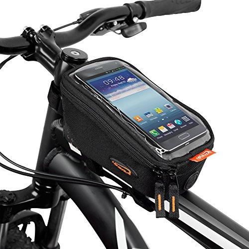 Ibera Bicycle Top Tube Phone Bag for 5″ – 6″ Screen Size, Bike Frame Strap Att ...