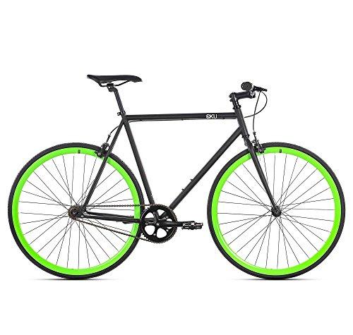 6KU Paul Fixed Gear Bicycle, Black/Green, 58cm