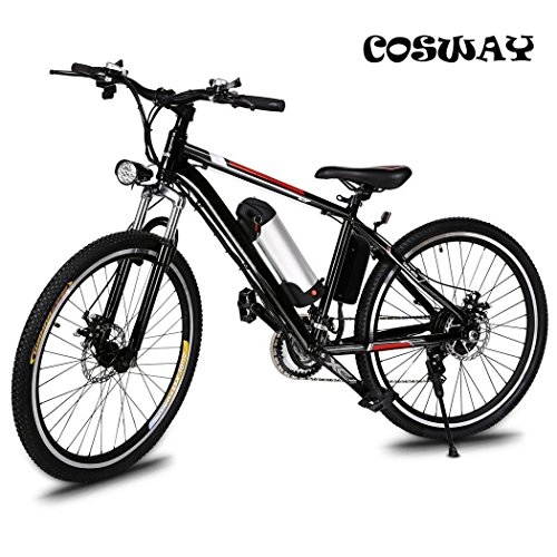 Speed Electric Mountain Bicycle with 26″ Fat Tire Suspension Fork and 36V Lithium-ion Batt ...