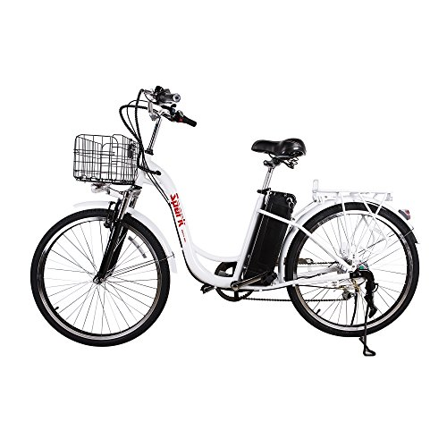 NAKTO/SPARK City Electric Bicycle Ebike with 36V 10Ah Lithium Battery for Women (White)