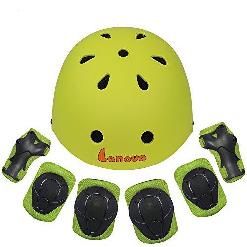 Lanova Kids Protective Gear Set,7Pcs Sport Safety Equipment Adjustable Child Helmet Knee Elbow P ...