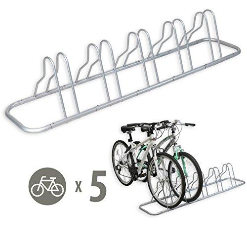 SimpleHouseware 5 Bike Bicycle Floor Parking Adjustable Storage Stand, Silver
