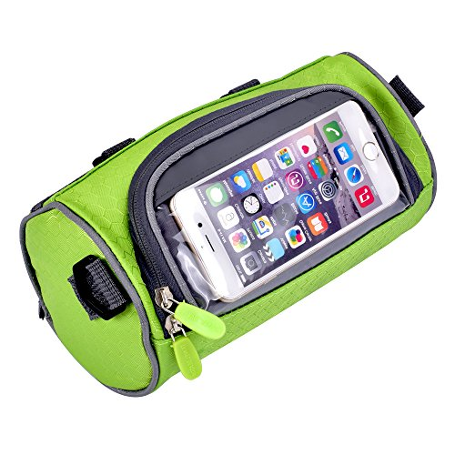 Yazer Durable Cycling Bicycle Bike Front Handlebar Bag with Transparent Pouch with iPhone Case f ...