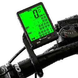 Cycle Computer, Bike Odometer Speedometer for Bicycle, Waterproof LCD Automatic Wake-up Backligh ...