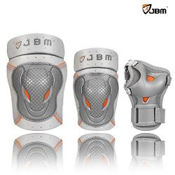 JBM BMX Bike Knee Pads and Elbow Pads with Wrist Guards Protective Gear Set for Biking, Riding,  ...