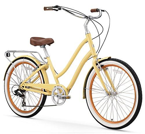 sixthreezero EVRYjourney Women's 7-Speed Step-Through Hybrid Cruiser Bicycle, Cream