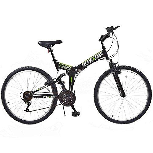 Stowabike 26″ MTB V2 Folding Dual Suspension 18 Speed Shimano Gears Mountain Bike Black