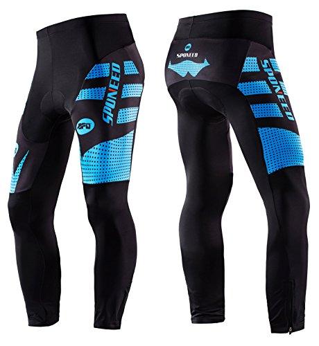 Sponeed Men's Cycling Pants Long Bicycling Tights Cushioned Bike Pant Elastic Riding Cloth ...