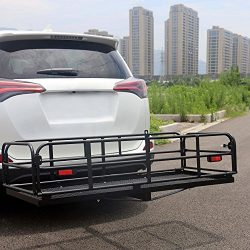 507LBS Cargo Carrier Rack Luggage Basket Hitch Mount Heavy Duty Steel 2″ Hitch Receiver fo ...