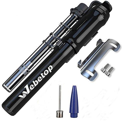 Webetop Mini Bike Pump Portable Presta Schrader Valve with Frame Mount High Pressure High Volume ...