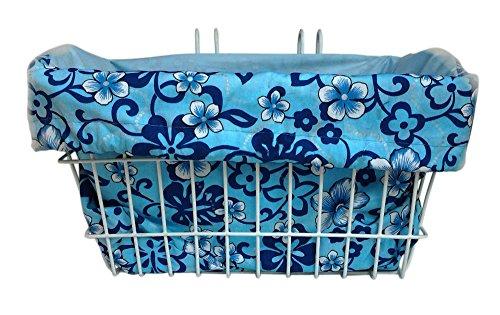 Bike Basket Liner Blue Hibiscus- Rectangular