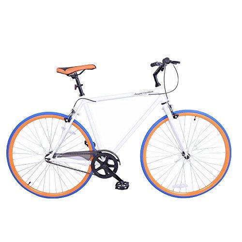 Royal London Fixie Fixed Gear Single Speed Bike – White/Orange/Blue