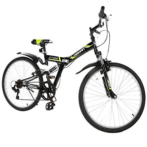 GTM 26″ Folding Bike 7 Speed Shimano Hybrid Suspension BIke,Green