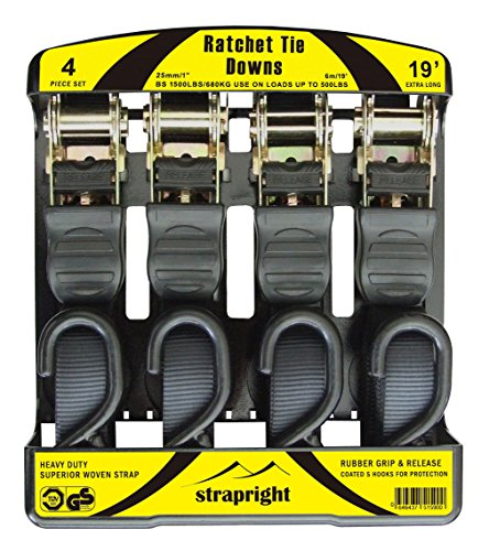 Strapright 4 Ratchet Tie Down Straps 20Ft | Adjustable Locking Mechanism, Heavy Duty Polyester & ...