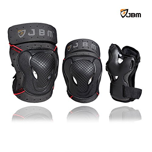 JBM Adult BMX Bike Knee Pads and Elbow Pads with Wrist Guards Protective Gear Set for Biking, Ri ...