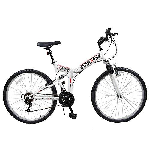 Stowabike 26″ MTB V2 Folding Dual Suspension 18 Speed Shimano Gears Mountain Bike White