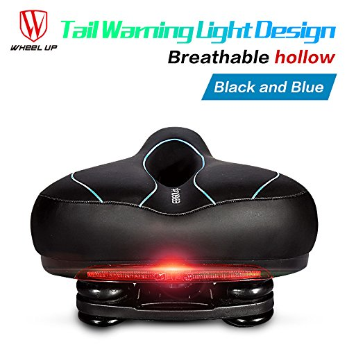 Oversized Wide Most Comfort Comfortable Bicycle Mountain Bike Saddle Seat with Tail Warning Ligh ...