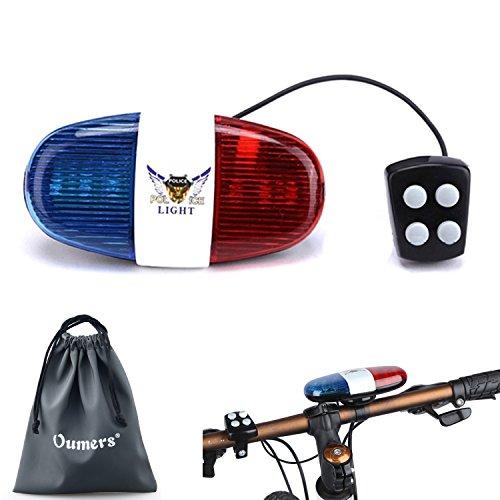 Oumers Bicycle Police Sound Light, Bike LED Light Electric Horn Siren Horn Bell, 5 LED Light 4 S ...