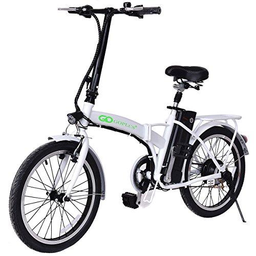 Goplus 20″ 250W Folding Electric Bike Sport Mountain Bicycle 36V Lithium Battery (White)