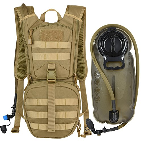 Tactical Molle Hydration Pack Backpack with 2.5L TPU Water Bladder, Military Daypack for Cycling ...