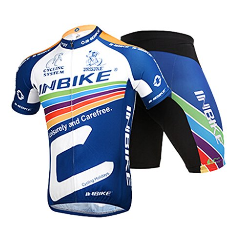 INBIKE Men's Summer Breathable Cycling Jersey and 3D Silicone Padded Shorts Set Outfit, Na ...