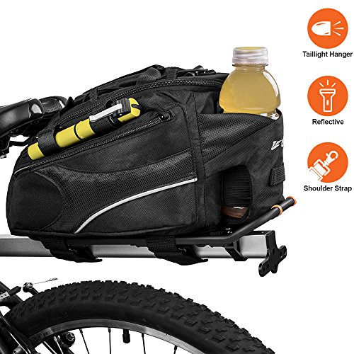 BV Bike Commuter Carrier Trunk Bag with Velcro Pump Attachment, Small Water Bottle Pocket &  ...