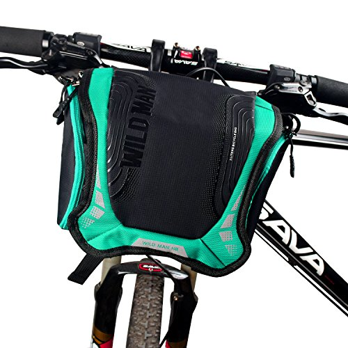 WILDMAN Bicycle Basket Handlebar Bag with Sliver Grey Reflective Stripe Outdoor Activity Bicycle ...