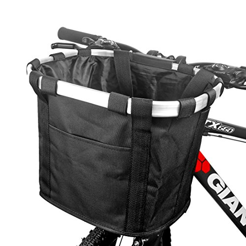 Bicycle Basket Bike Front Basket Folding Detachable Cycling Bag- perfect For Pet Cat Dog Carrier ...