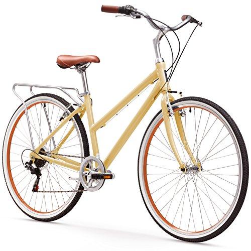 sixthreezero Explore Your Range Women's 7-Speed Hybrid Commuter Bicycle, Cream, 17″  ...